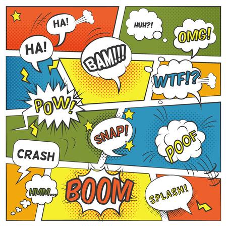 cómico: Emocional y Sonido burbujas cómicas establecen con el chapoteo de auge y omg ilustración vectorial plana