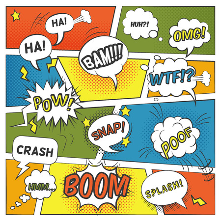 pow: Emotional and sound comic bubbles set with boom splash and omg flat vector illustration Illustration