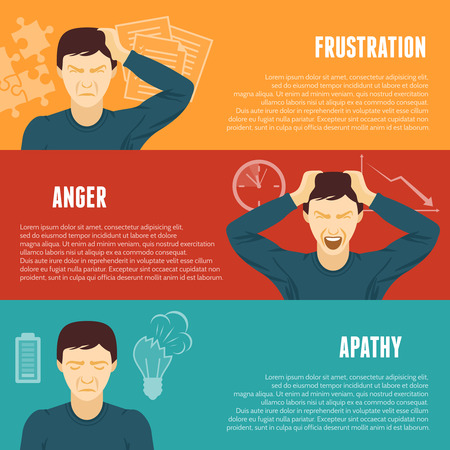 mental disorder: Frustration anger apathy work related mental problems symptoms 3 flat horizontal banners set abstract isolated vector illustration