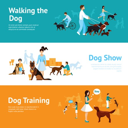 People with dogs banner set with walking and training elements isolated vector illustration