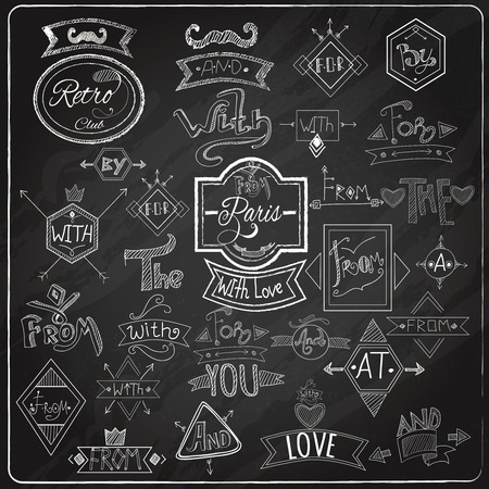 vintage design: Chalk written prepositions catchwords signs collection with paris romantic heart love  emblem composition blackboard abstract vector illustration