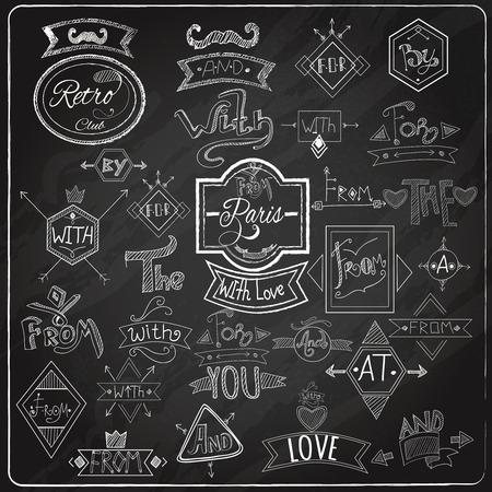 Krijt geschreven voorzetsels steekwoorden borden collectie met parijs romantische hart liefde embleem samenstelling schoolbord abstract vector illustratie
