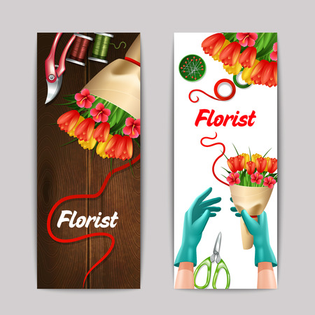 bunch of flowers: Bunch of flowers with florist text and equipment colorful vertical banner set isolated vector illustration