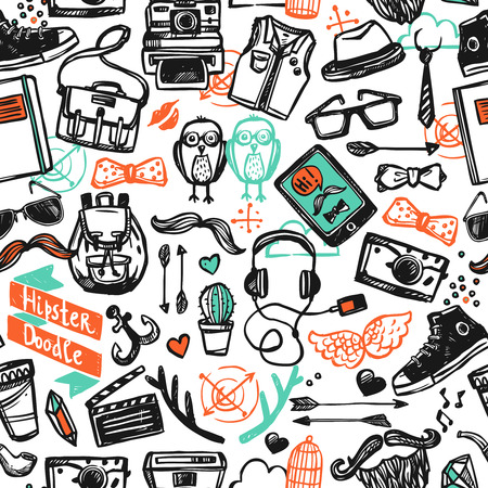Hipster fashion style clothing attribution accessories and symbols sketch color seamless pattern vector illustration Illustration
