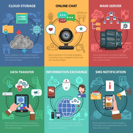 it tech: It device and cloud storage mini poster set isolated vector illustration