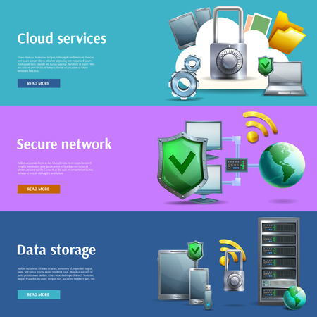 computer virus protection: Data storage and protection cartoon horizontal banners set with networks and cloud services isolated vector illustration