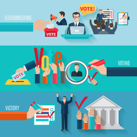 vote: Election horizontal banners set with flat voting elements isolated vector illustration Illustration