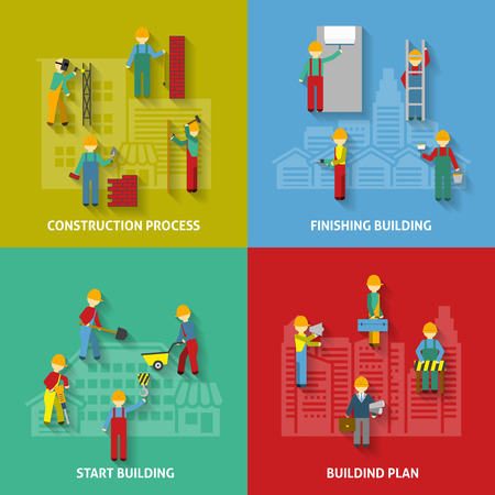 building icon: Building plan start process and finishing with workers flat color decorative icon set isolated vector illustration Illustration