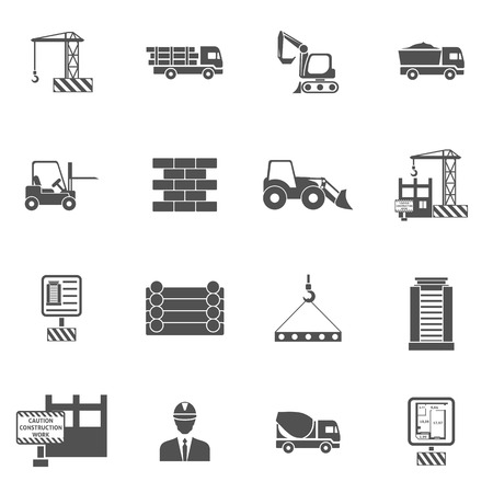 Construction icons flat black set with bulldozer mixer and lifter isolated vector illustration Illustration