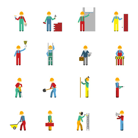 handyman: Builders welder bricklayer engineer handyman and plasterer flat color icon set isolated vector illustration