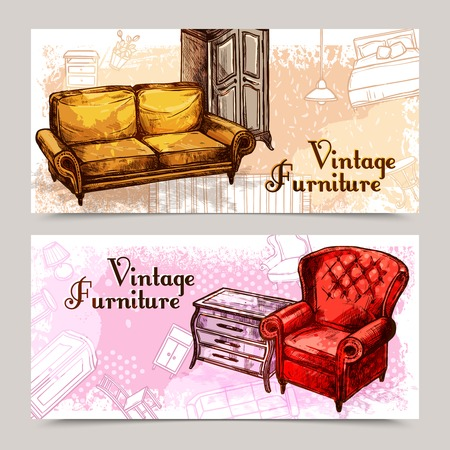 antique furniture: Furniture horizontal banner set with sketch sofa and armchair isolated vector illustration