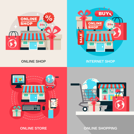 retail shopping: Online store and internet or web shopping flat color decorative icon set isolated vector illustration Illustration