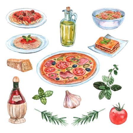comida italiana: Acuarela comida italiana establecer con pasta pizza y vino aislados ilustraci�n vectorial