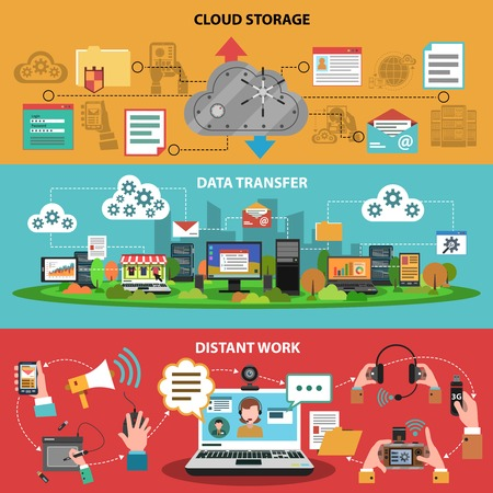 distant work: It device banner horizontal set with cloud storage data transfer distant work isolated vector illustration Illustration