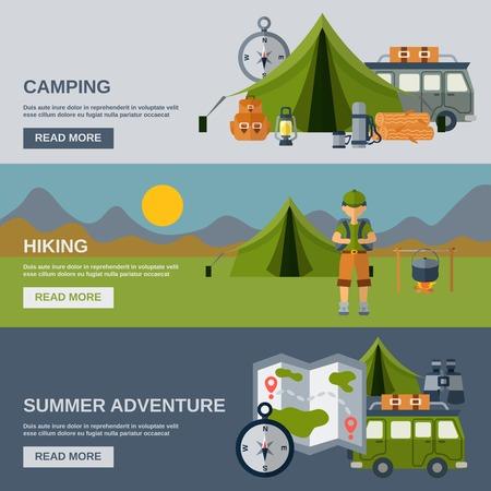 estate: Camping banner orizzontale impostato con escursioni e avventura estiva elementi piani isolato illustrazione vettoriale Vettoriali