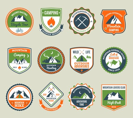 Mountain adventure and extreme tourism emblems set isolated vector illustration