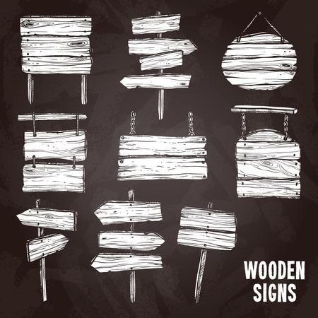 marco madera: Postes de muestra de madera y tableros en la pizarra icono de boceto plana conjunto aislado ilustración vectorial