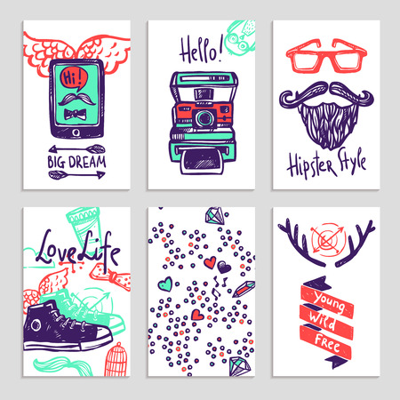 attribution: Hipster style attribution accessories and text sketch color vertical banner set isolated vector illustration
