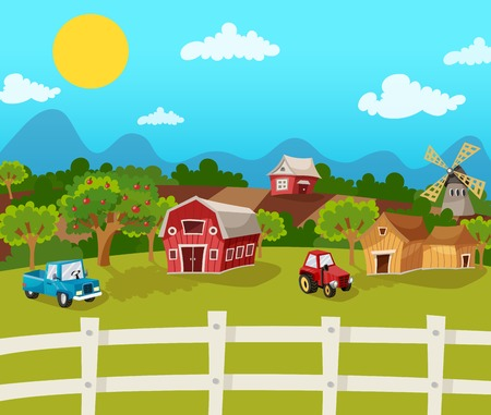 farms: Farm cartoon background with apple garden in rural landscape vector illustration