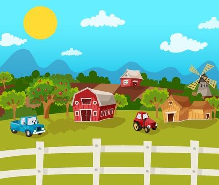 vaca caricatura: Granja fondo de dibujos animados con jardín de la manzana en el paisaje rural ilustración vectorial