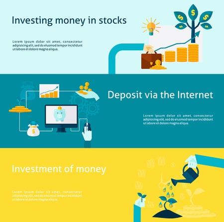 deposit: Investment horizontal banner with internet deposit flat elements set isolated vector illustration Illustration