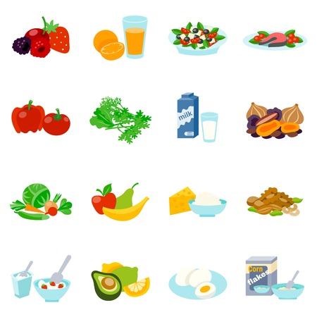 Gezonde voeding vlakke pictogrammen die met vissen steak Griekse salade biologische melk geïsoleerde vector illustratie