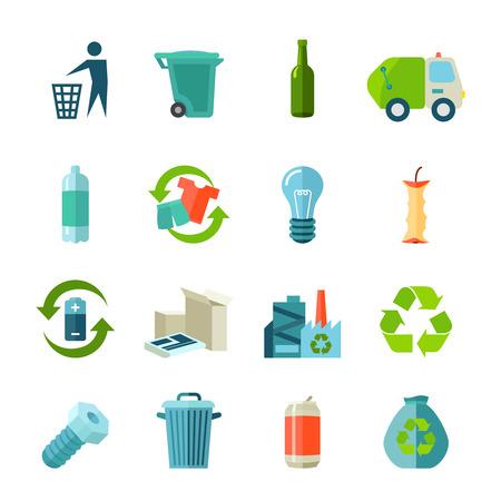 cesto basura: Iconos Reciclaje establecen con los tipos de residuos y recogida plana aislado ilustración vectorial