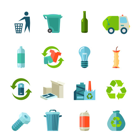 type: Recycling icons set with waste types and collection flat isolated vector illustration