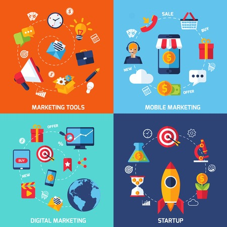 info icon: Digital marketing design concept set with startup flat icons isolated vector illustration