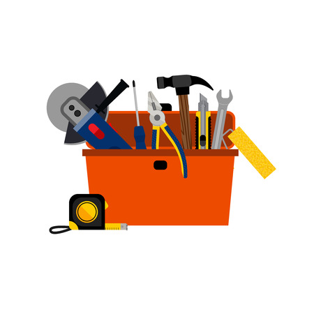 toolbox: Toolbox for DIY house repair and home renovation with power and hand tools concept vector illustration Illustration