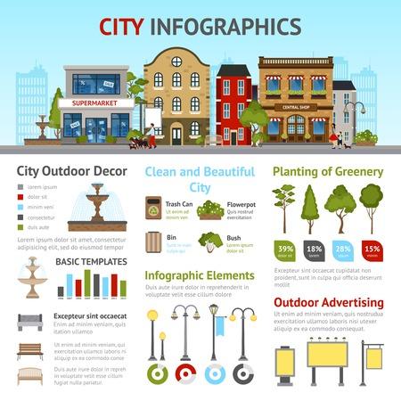 Stadt Infografiken mit Gebäuden und Außen Dekor-Elemente Vektor-Illustration festgelegt