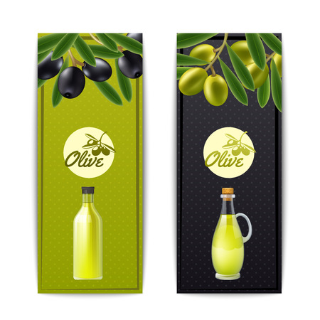 Olive oil bottle and pourer with black and green olives vertical banners set abstract isolated vector illustration Illustration
