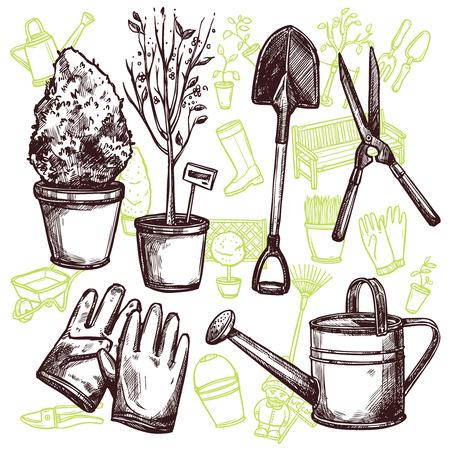 seedlings: Garden tools shovel pruner lake and gloves and seedlings in pots sketch seamless concept vector illustration