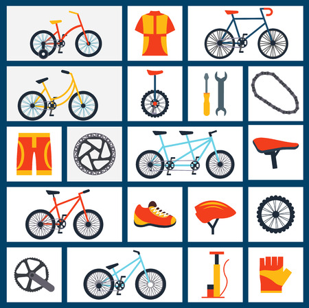 bicycle pump: Mountain sportive and city bicycles accessories with gloves and helmet flat icons set abstract isolated vector illustration