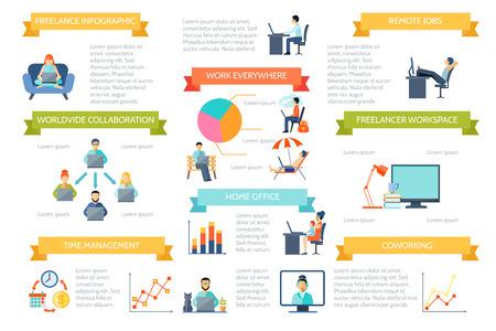 document management: Oficina en casa trabajo remoto independiente y el trabajo en todas partes o el color en cualquier momento plana infograf�a ilustraci�n vectorial Vectores