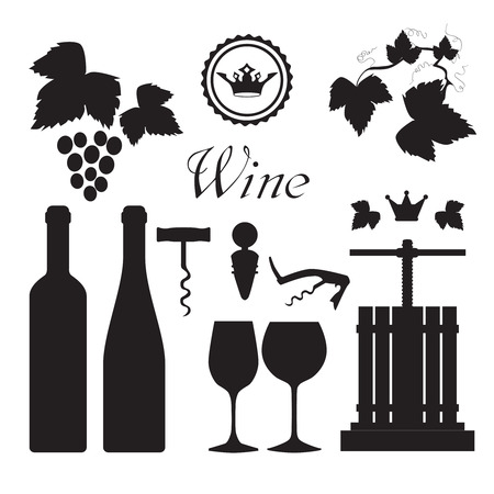 Traditional vinery grape press with wine bottles and screw opener black icons set abstract vector isolated illustration Illustration