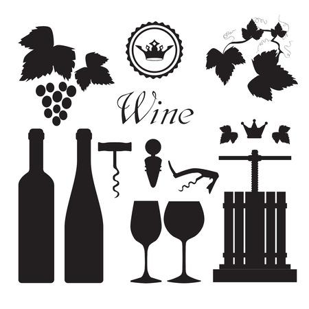 Tradicional prensa de uva viñedo con las botellas de vino y el tornillo de iconos negros del abridor set vector abstracta ilustración aislada