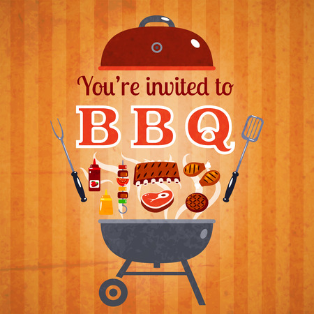 bbq: Barbecue BBQ party invitation announcement billboard with steaks hamburgers and ketchup poster classical abstract vector illustration