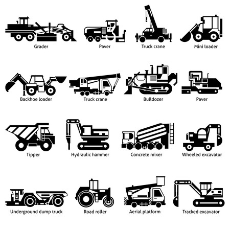 mini loader: Construction machines and technics black white icons set with crane hammer and tipper flat isolated vector illustration