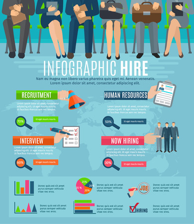 Human resources personnel recruitment and hiring strategy infographics report with  statistic charts and diagrams abstract vector illustration Illustration