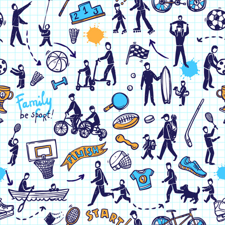 physical activity: Physical activity and sport sketch seamless pattern concept vector illustration