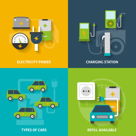 electric power station: Electric car charging station and electricity power flat color decorative icon set isolated vector illustration