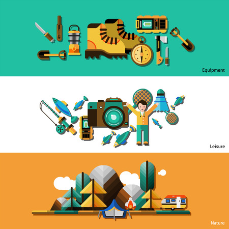 business survival: Camping and nature horizontal banners set with equipment and leisure flat isolated vector illustration Illustration