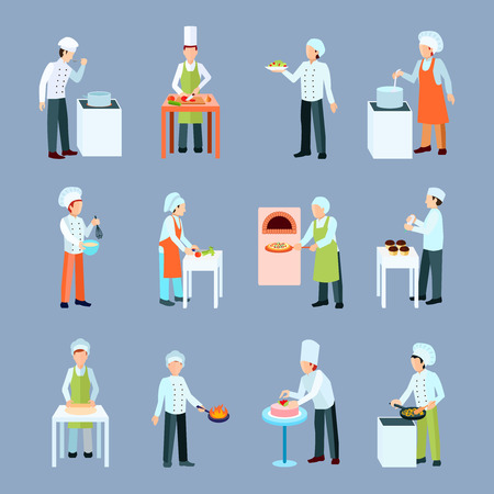 making a fire: Cook profession icons set with salad pizza and cake making flat isolated vector illustration