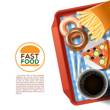 Fast food emblem and tray with donuts pizza and black coffee cup background poster abstract vector illustration