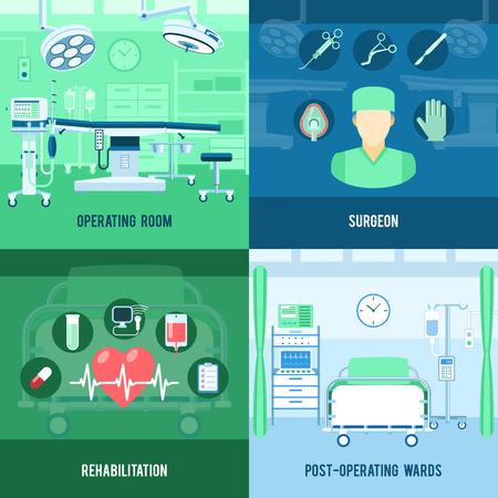 chirurgo: Sala operatoria e riabilitazione post operazione reparto 4 icone piane composizione quadrato astratto banner illustrazione vettoriale isolato