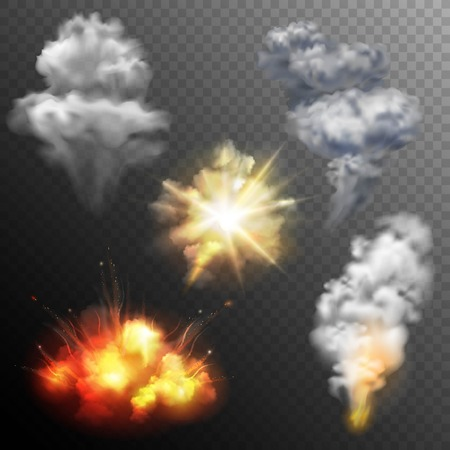 mushroom cloud: Variously shaped firework explosion patterns set of star cloud and mushroom images collection realistic isolated vector illustration Illustration