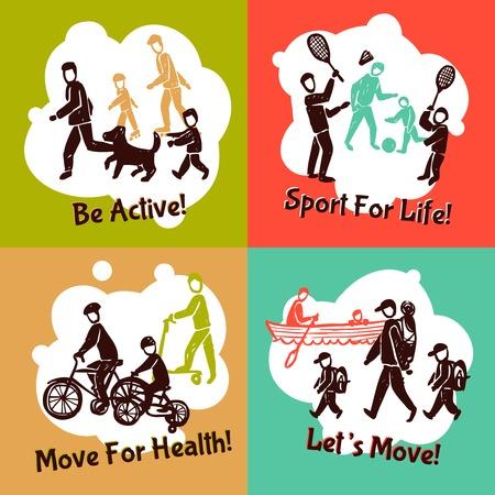 actividad fisica: La actividad física concepto de diseño conjunto con la gente de la familia activas siluetas de dibujo aislado ilustración vectorial Vectores