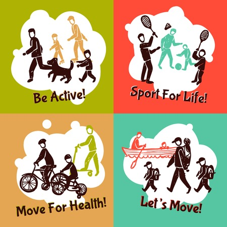 moving activity: Physical activity design concept set with active family people sketch silhouettes isolated vector illustration