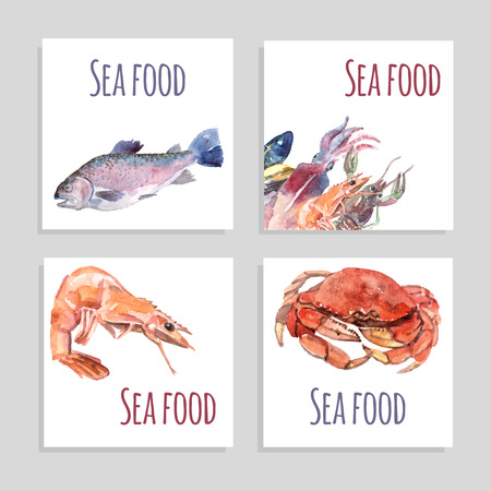 shellfish: Seafood watercolor square banners set with crabs fish and shrimp isolated vector illustration